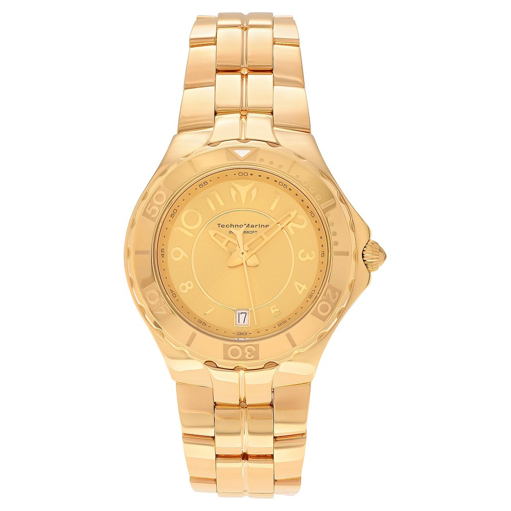 Women's Technomarine TM-715010 Sea Pearl Quartz 3 Hand Gold Dial Link Watch - Gold