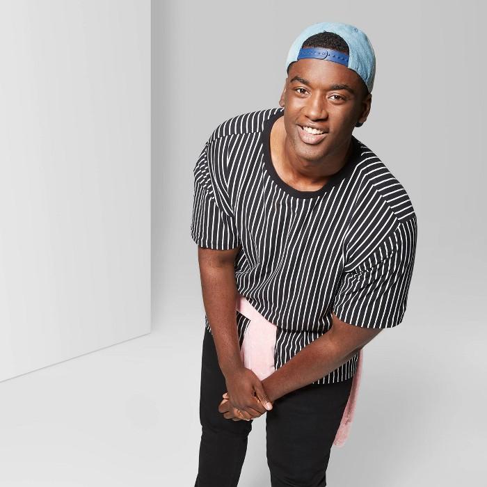 Men's Big & Tall Striped Regular Fit Short Sleeve Boxy T-Shirt - Original Use™ Black - image 1 of 3