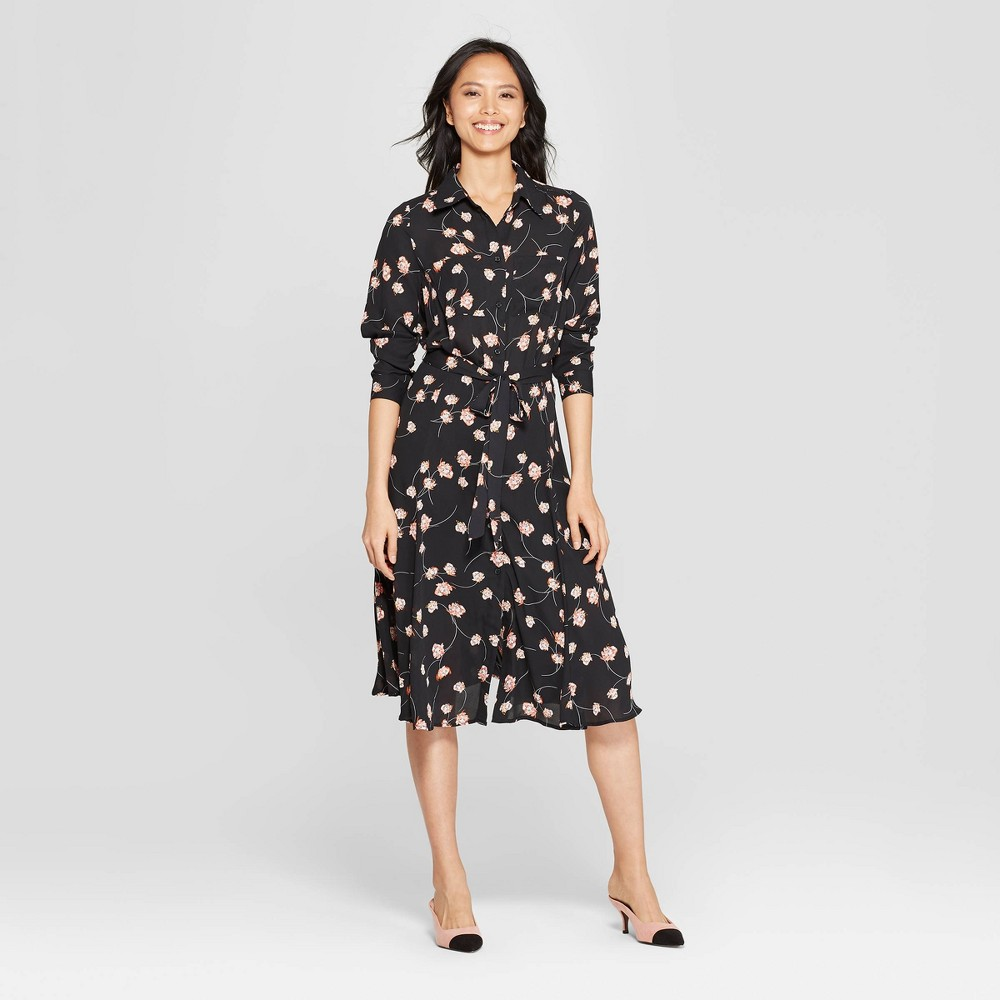 Women's Floral Print Long Convertible Sleeve Button Detailed Shirtdress - Who What Wear Black XL