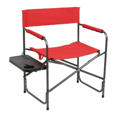 Portal Indoor Outdoor Portable Lightweight Steel Frame Folding Camping Directors Chair with Side Table and Cup Holder, Red