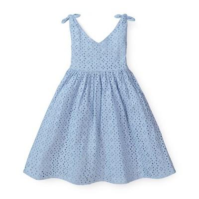 Hope & Henry Girls' Sleeveless Bow Shoulder Swing Dress, Kids