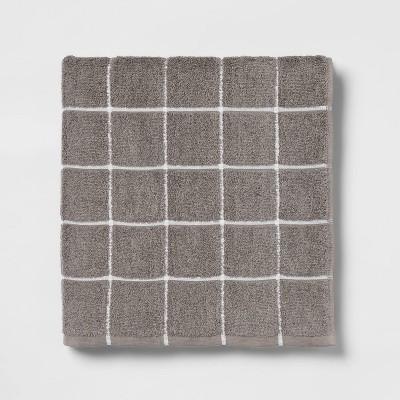XL Everyday Grid Bath Towel Dark Gray - Room Essentials™