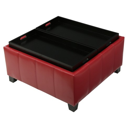 Mansfield Faux Leather Tray Top Storage Ottoman Christopher Knight