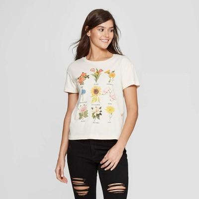 3b922ae8a90 Women s Short Sleeve Crewneck Flower Chart Graphic T-Shirt - Fifth Sun  (Juniors ) - White   Target
