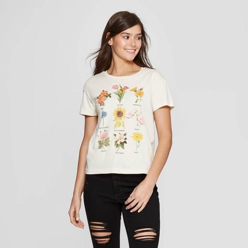 8b1174db Women's Short Sleeve Crewneck Flower Chart Graphic T-Shirt - Fifth Sun ( Juniors') - White