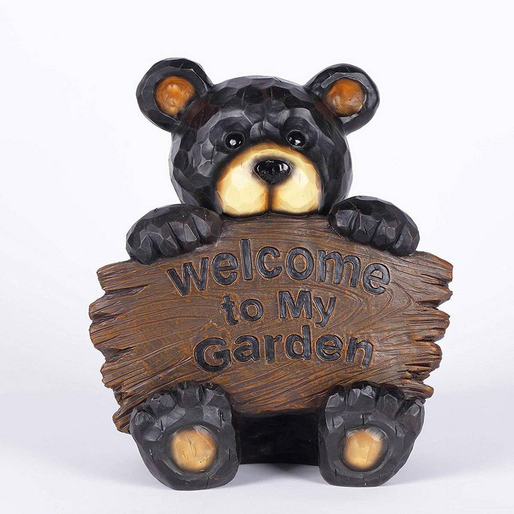 12 25 34 Polyresin Bear Cub Holding Welcome To My Garden Sign Outdoor Statue Black Hi Line Gift