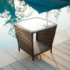 Weston Wicker with Glass Top Patio Side Table - Multi-Brown - Christopher Knight Home - image 4 of 4