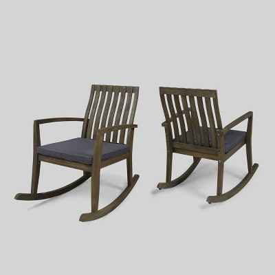 2pk Colmena Acacia Wood Patio Rustic Rocking Chair - Christopher Knight Home