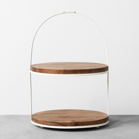 2-Tier Cakestand Sour Cream / Wood - Hearth & Hand™ with Magnolia - image 1 of 1