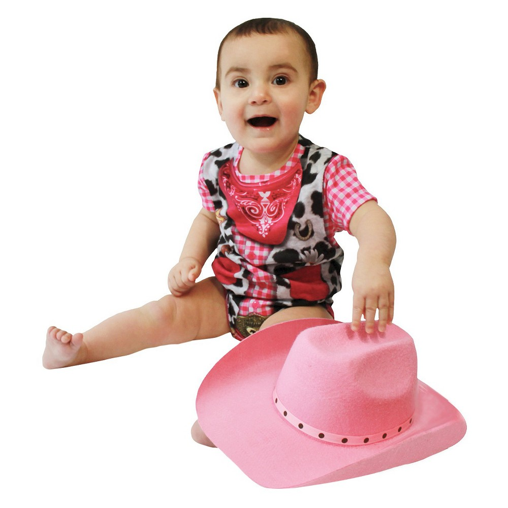 Image of Halloween Baby Girls' Cowgirl Romper Costume 0-6 Month, Girl's, Size: 0-6M, Pink
