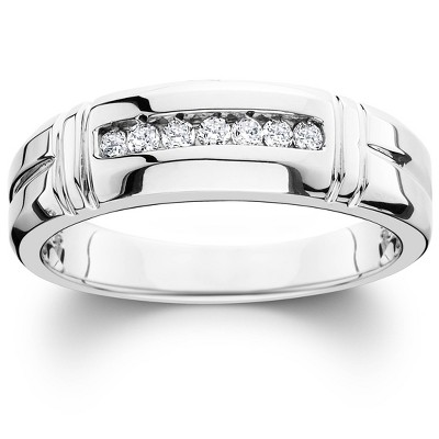 Pompeii3 1/4ct Channel Set Diamond Ring 14K White Gold Mens Wedding Band
