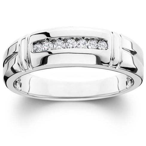 Pompeii3 1/4ct Channel Set Diamond Ring 14K White Gold Mens Wedding Band - image 1 of 3