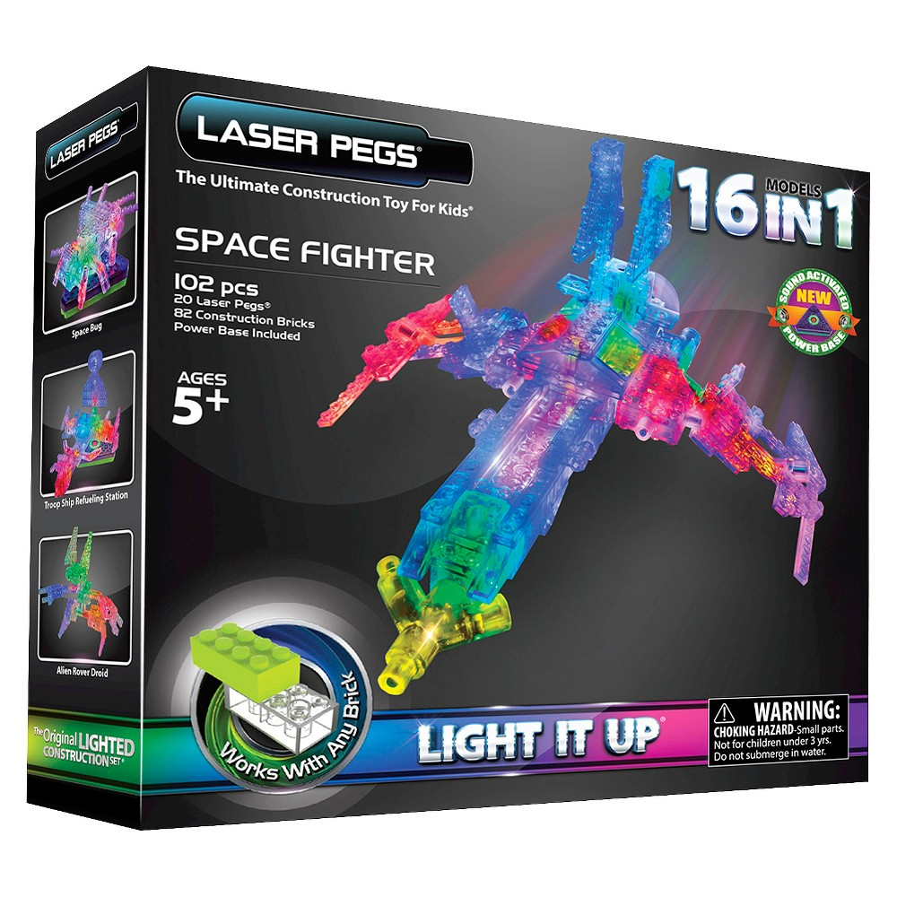 Laser Pegs 16 in 1 Space Fighter Lighted Construction Toy