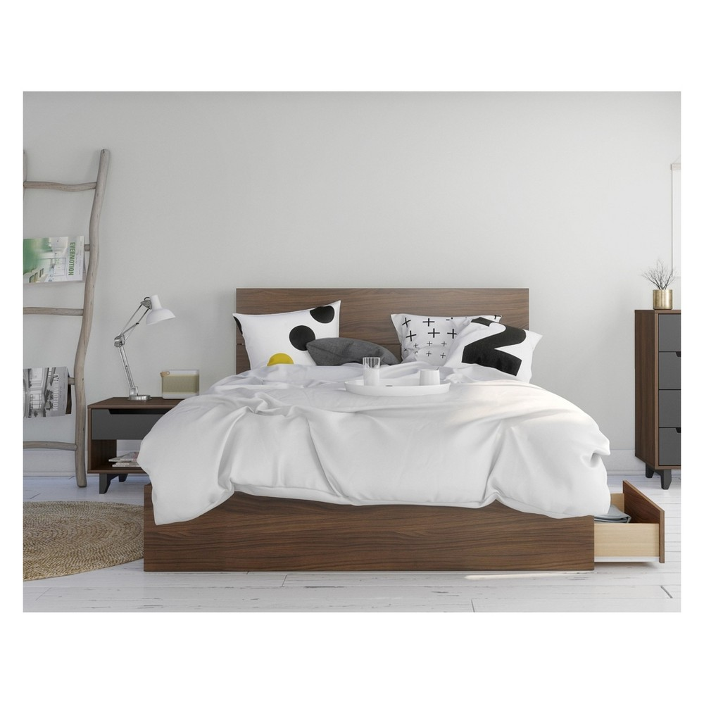 Iveta Sunshaded mystic 3pc bedroom set queen walnut brown nexera