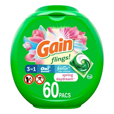 Gain flings! Spring Daydream Scent Liquid Laundry Detergent Pacs - 60ct