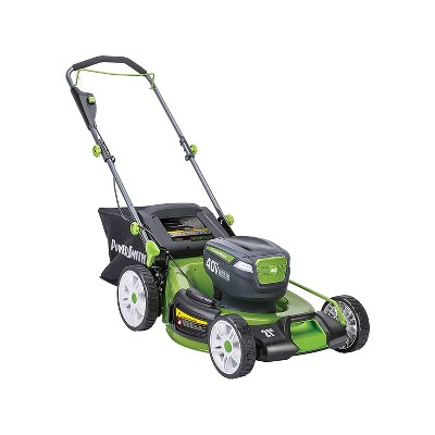 PowerSmith PLM14021H Battery Powered 40 Volt Max Lithium Ion 21 Inch Electric Brushless Motor Lawn Mower with 2 Batteries, Charger, and Bag, Green