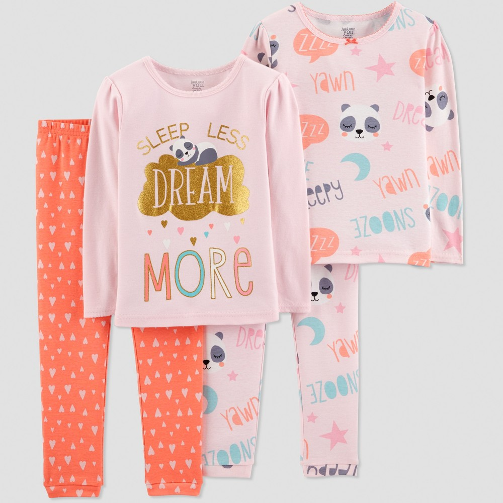 Toddler Girls' 4pc Dream More Panda Pajama Set - Just One You made by carter's Pink 2T