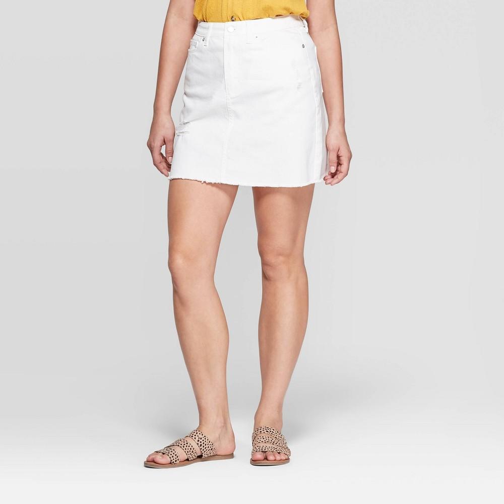 a0a6ab94dd9 Womens Destructed Denim Mini Skirt Universal Thread White 14