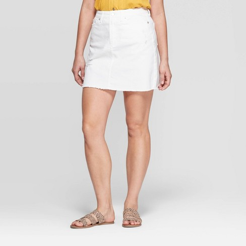 668acf6b90 Women's Destructed Denim Mini Skirt - Universal Thread™ White 16 ...