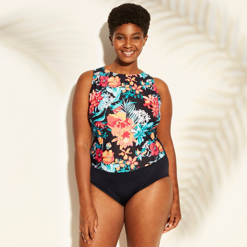 d023bf1ac75 Womens Plus Size High Neck One Piece Swimsuit Clean Water Black 20W