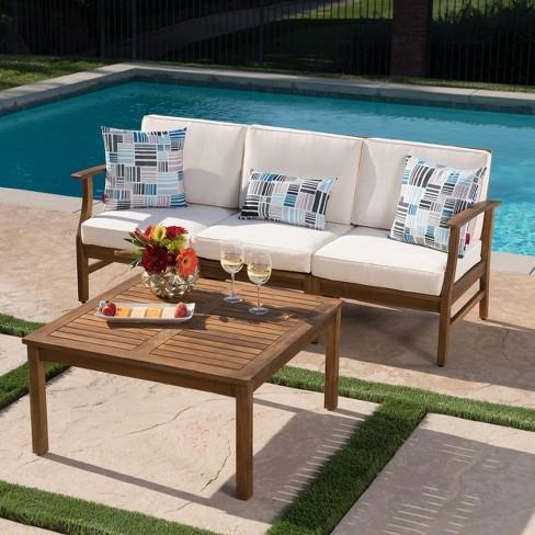 Perla 4pc Acacia Wood Sectional Sofa Set Teak/Cream - Christopher Knight  Home