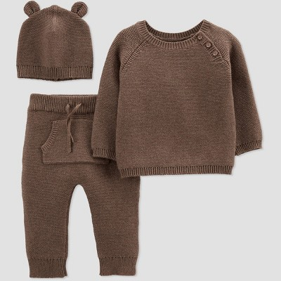 Baby Boys' 3pc Sweater Top & Bottom Set - Just One You® made by carter's Brown Newborn