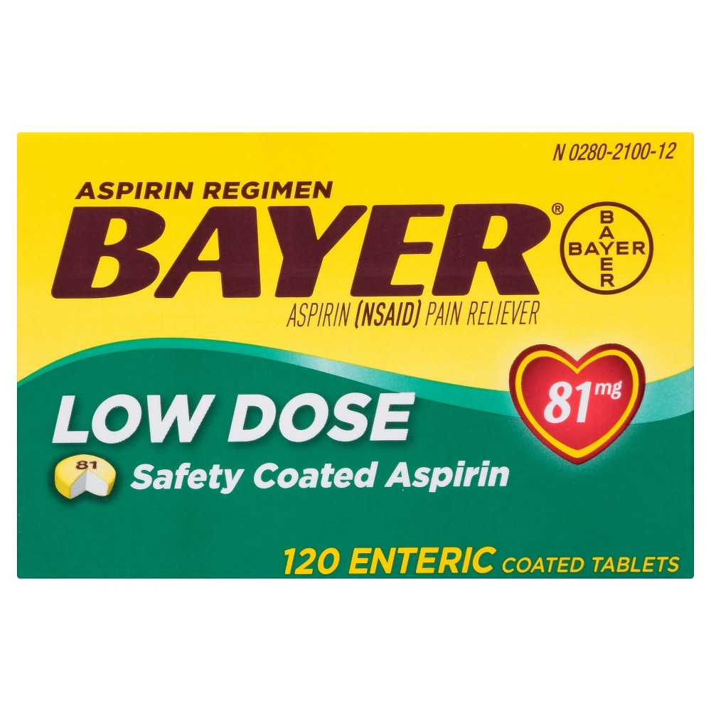 Bayer Aspirin Regimen 81mg Low Strength Coated Tablets Aspirin Nsaid 120ct