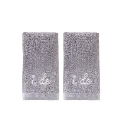 2pc I Do Diamond Hand Towel Set Soft Silver - Saturday Knight Ltd.