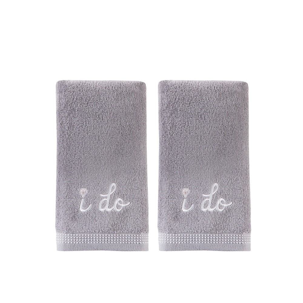 2pc I Do Diamond Hand Towel Bath Towels Sets Soft Silver - Saturday Knight Ltd.