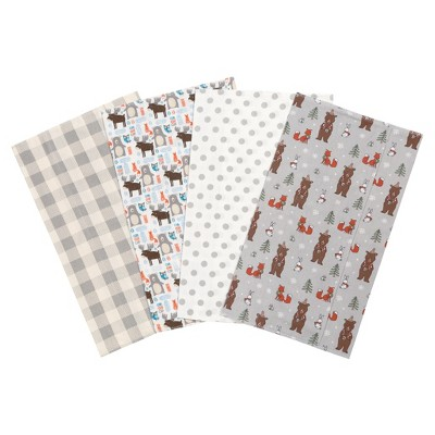 Trend Lab Scandi Cocoa Flannel Burp Cloth Set - Alum Gray 4pk