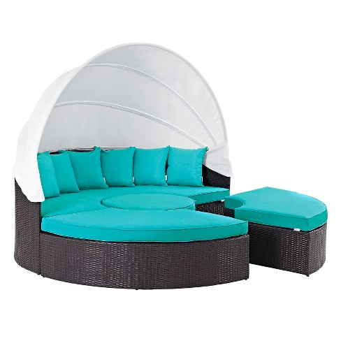 Convene Canopy Outdoor Patio Daybed In Espresso Turquoise Modway Target