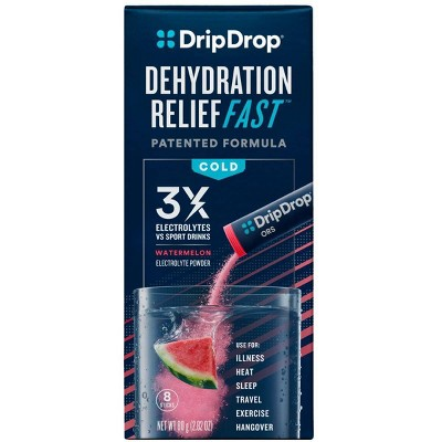 DripDrop ORS Electrolyte Powder for Fast Dehydration Relief - Watermelon - 8ct