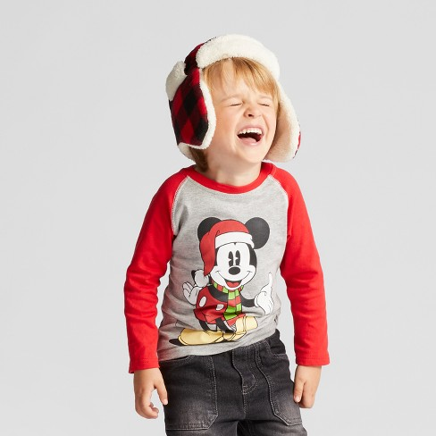 Toddler Boys' Disney Mickey Mouse in Santa Hat and Scarf Long Sleeve T-Shirt - Grey - image 1 of 4