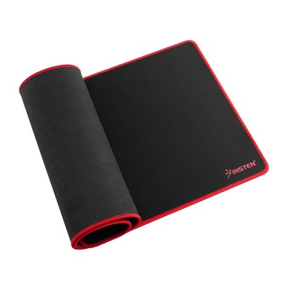 Insten Extended Mouse Pad Long Mat w/Low Friction Surface & Non-Slip Base for Mouse Keyboard Game Universal Black/Red