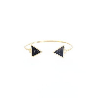 Sanctuary Project Semi Precious Black Howlite Arrow Cuff Bracelet Gold