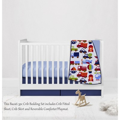 Bacati - Transportation Blue Navy Green Red Orange 3 pc Crib Bedding Set