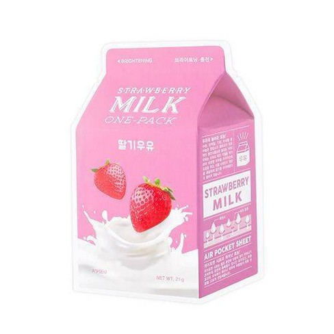 A'PIEU Strawberry Milk Brightening Sheet Mask - 0.74oz - image 1 of 4
