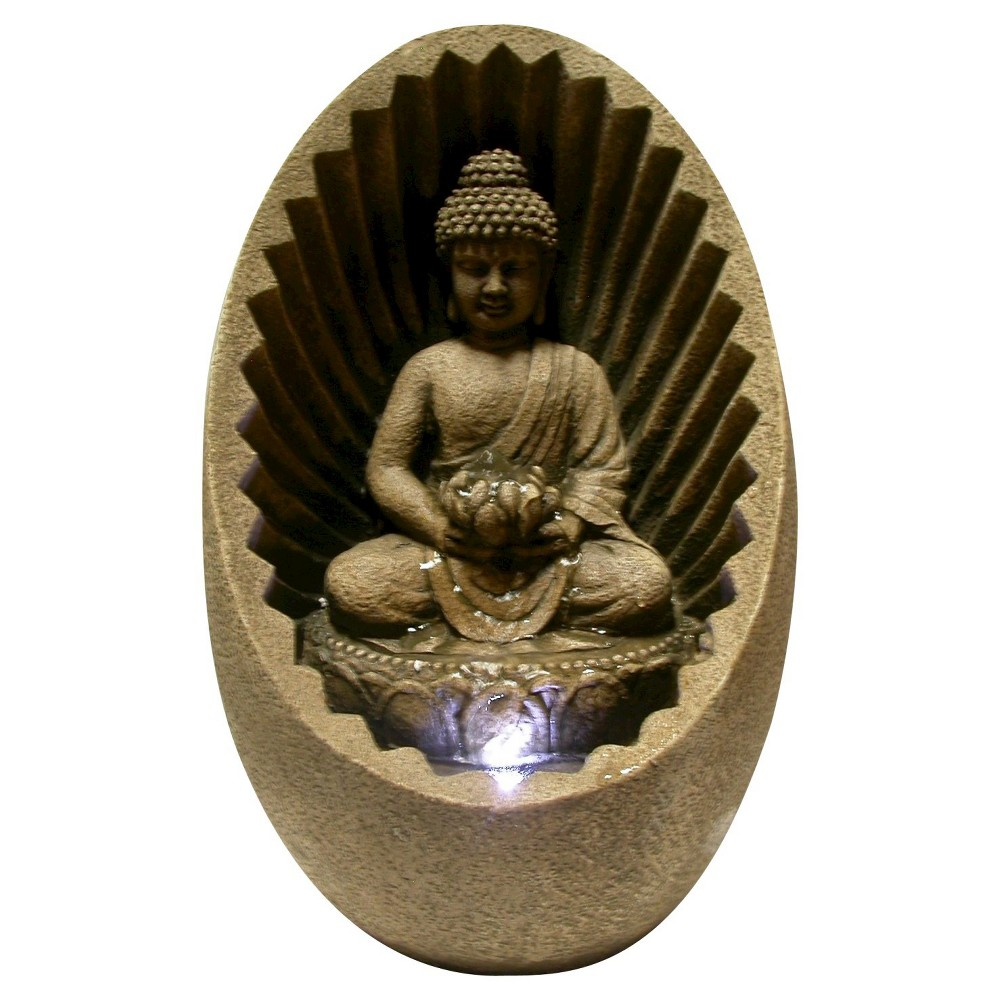 "Image of ""11"""" Buddha Tabletop Fountain With LED Light - Brown - Alpine Corporation"""