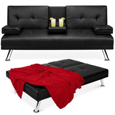 Best Choice Products Modern Faux Leather Convertible Futon Sofa w/ Removable Armrests, Metal Legs, 2 Cupholders