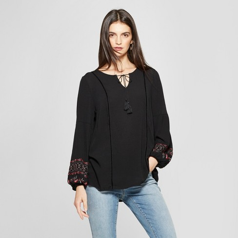 78c36125939507 Women's Long Sleeve Embroidered Peasant Top - Knox Rose™ Black XS ...