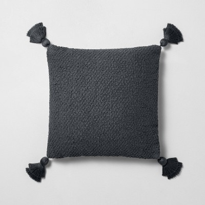 "18"" x 18"" Textured Cotton Flare Tassel Throw Pillow Gray - Hearth & Hand™ with Magnolia"