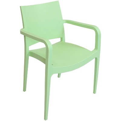 Sunnydaze Plastic All-Weather Commercial-Grade Landon Indoor/Outdoor Patio Dining Arm Chair, Light Green