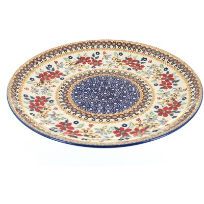 Blue Rose Polish Pottery Red Daisy Large Dinner Plate