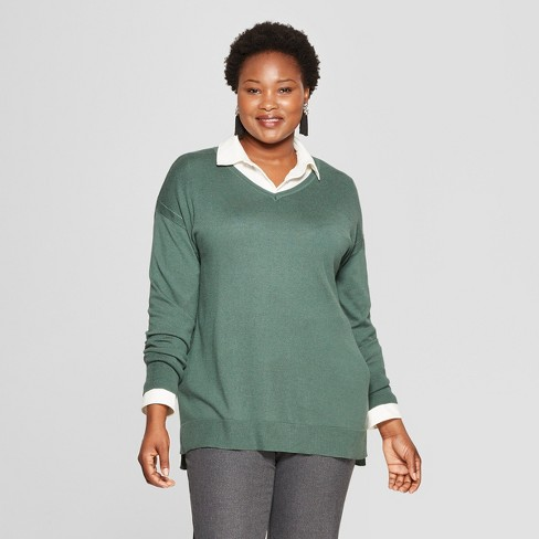 269c38e656b Women s Plus Size Long Sleeve Pullover - Ava   Viv™ Green 1X   Target
