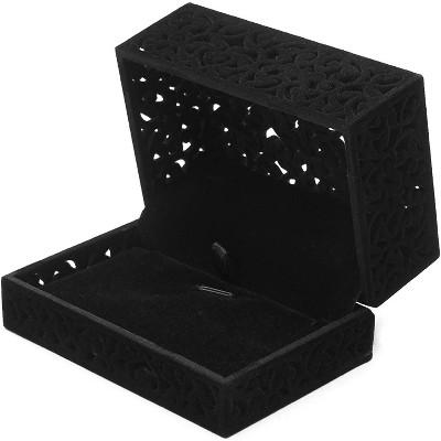 Rectangle Velvet Jewelry Gift Box (8.5 x 5.8 x 4.5 Inches, Black)