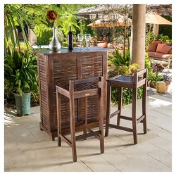 Riviera 3pc Wood Patio Bar Set - Brown - Christopher Knight Home
