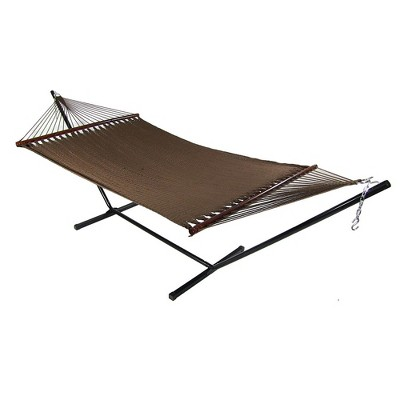 Sunnydaze Outdoor 2-Person Double Polyester Rope Hammock with Wood Spreader Bar and 15ft Black Steel Stand - Mocha