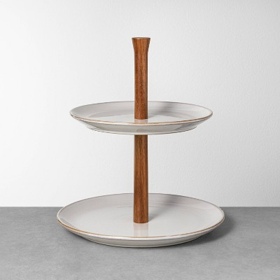 Glazed Round Ceramic & Wood Tiered Serve Stand Gray - Hearth & Hand™ with Magnolia
