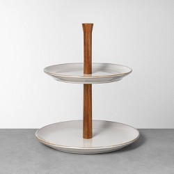 Glazed Round Ceramic + Wood Tiered Serve Stand Gray - Hearth & Hand™ with Magnolia