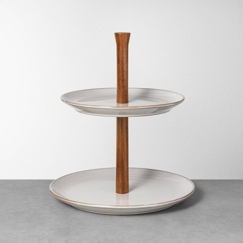 Glazed Round Ceramic + Wood Tiered Serve Stand Gray - Hearth & Hand™ with Magnolia - image 1 of 2